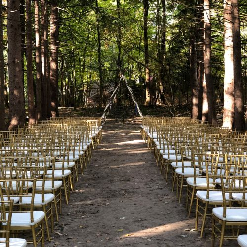 outdoor wedding with gold chiavari chairs in detroit michigan