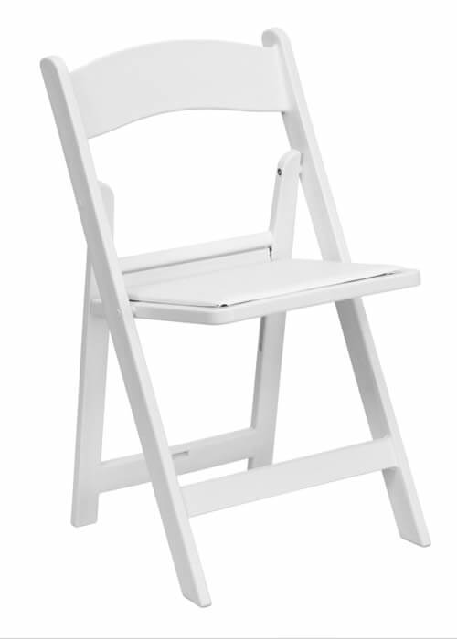white padded folding chair for rent