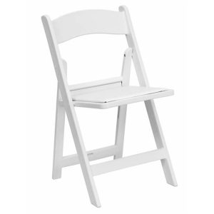 Great Lakes Chiavari - White Padded Folding Chair