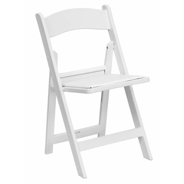 Great Lakes Chiavari - White Padded Folding Chair
